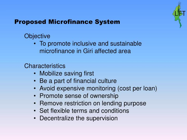 Proposed Microfinance System