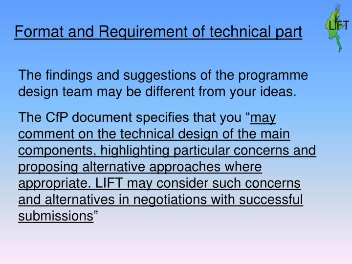 Format and Requirement of technical part