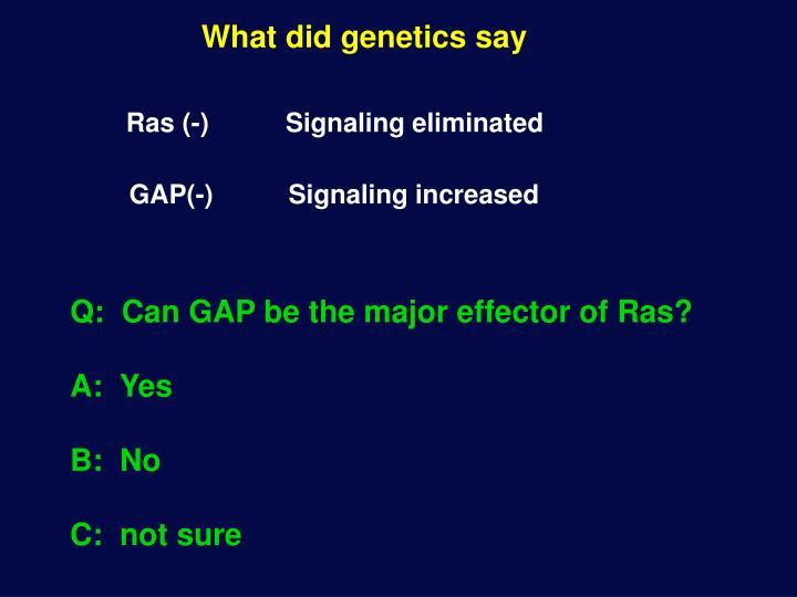 What did genetics say