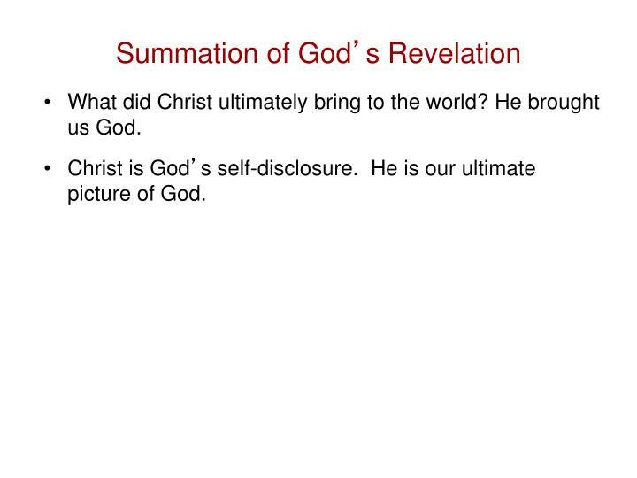 Summation of God