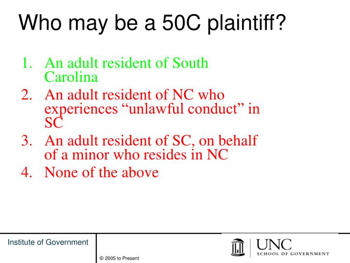 Who may be a 50C plaintiff?