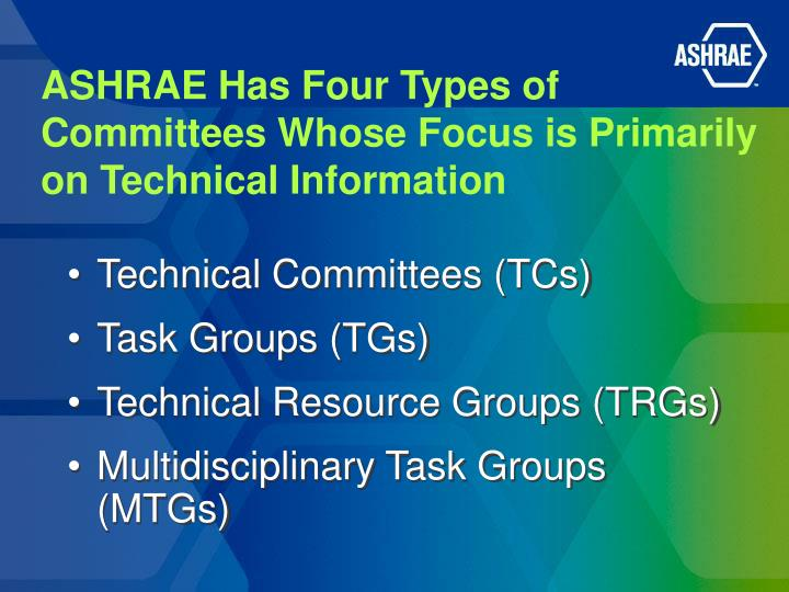 ASHRAE Has Four Types of Committees Whose Focus is Primarily on Technical Information