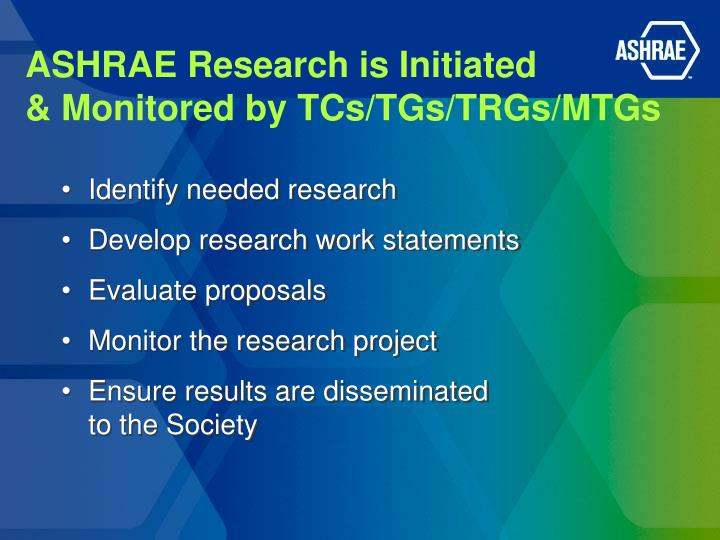 ASHRAE Research is Initiated