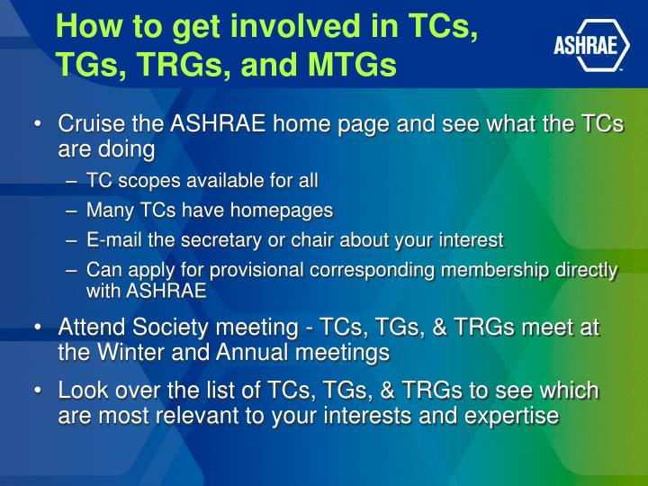 How to get involved in TCs,