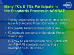 many tcs tgs participate in the standards process in ashrae
