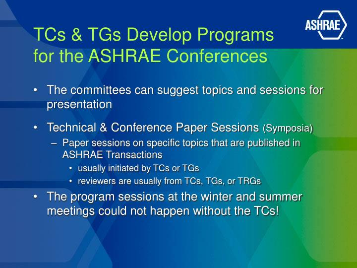 TCs & TGs Develop Programs