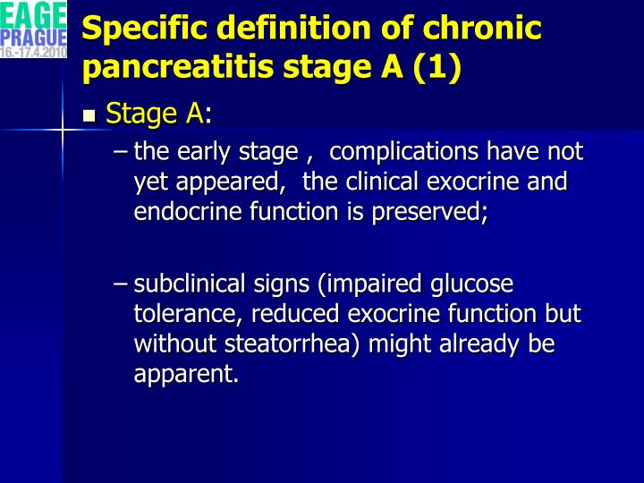 Specific definition of chronic pancreatitis stage A (1)