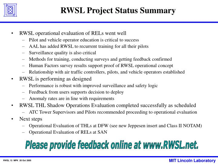 RWSL Project Status Summary