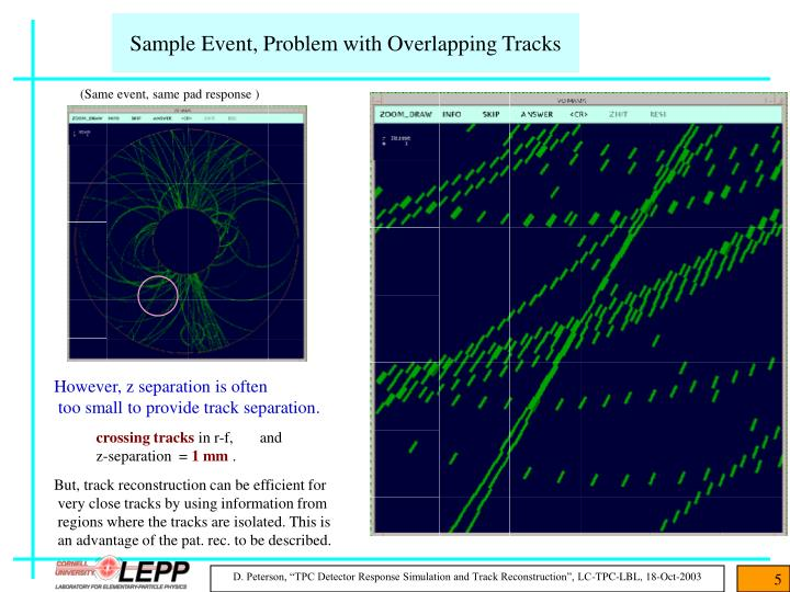 Sample Event, Problem with Overlapping Tracks