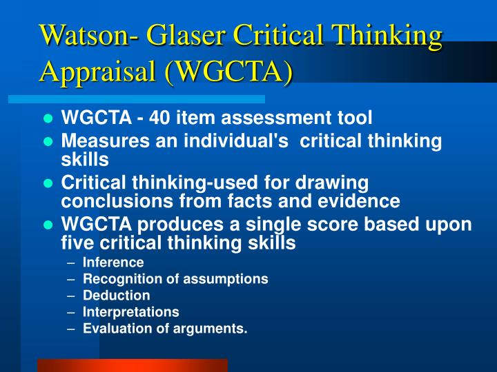 watson glaser critical thinking assessment dfat