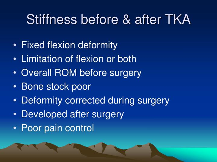 Stiffness before & after TKA
