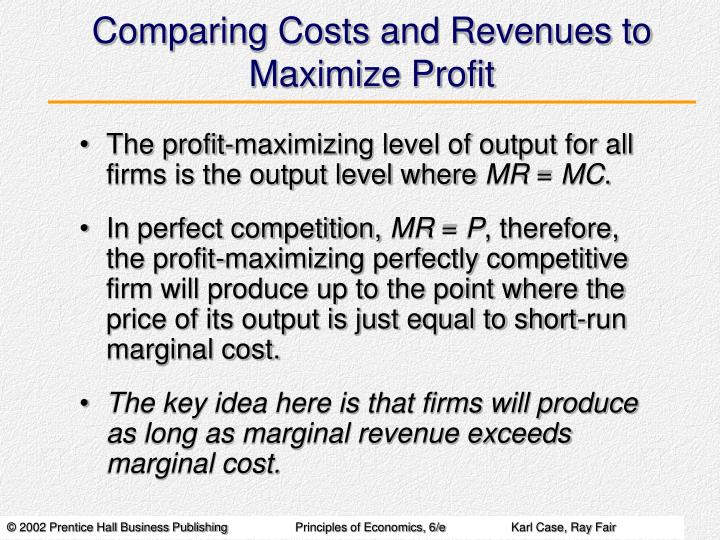Comparing Costs and Revenues to Maximize Profit