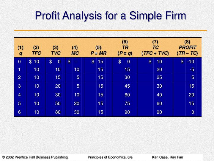 Profit Analysis for a Simple Firm