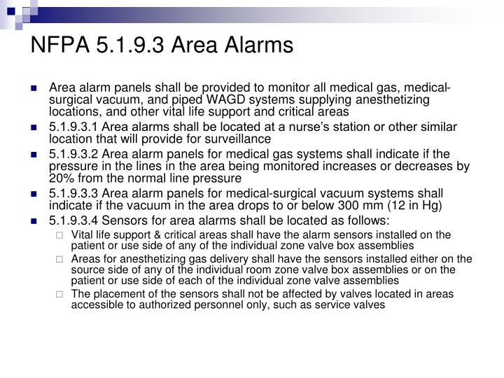 NFPA 5.1.9.3 Area Alarms