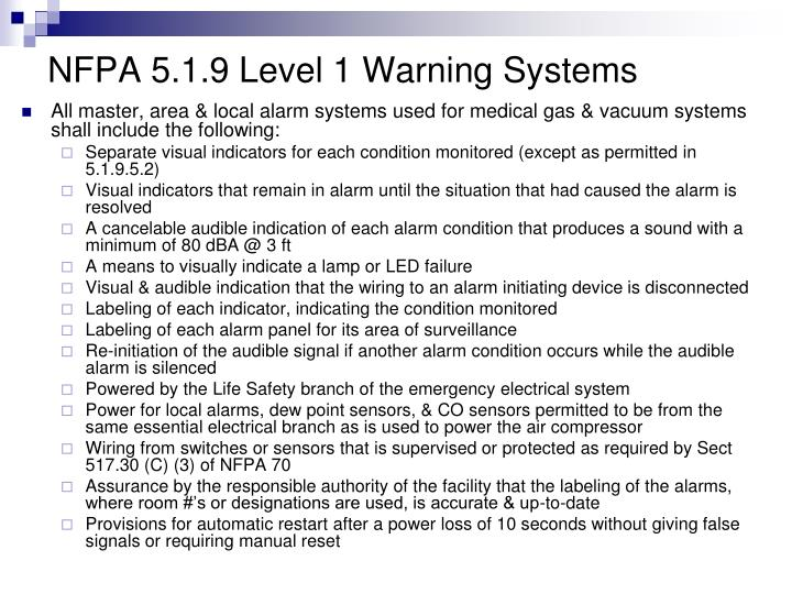 NFPA 5.1.9 Level 1 Warning Systems