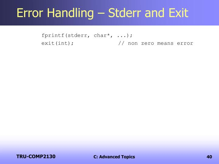 Error Handling – Stderr and Exit