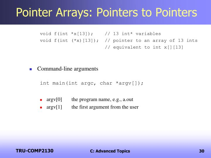 Pointer Arrays: Pointers to Pointers