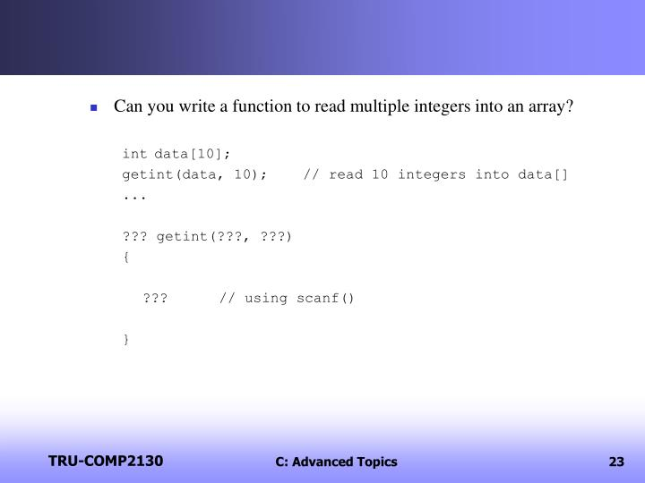 Can you write a function to read multiple integers into an array?