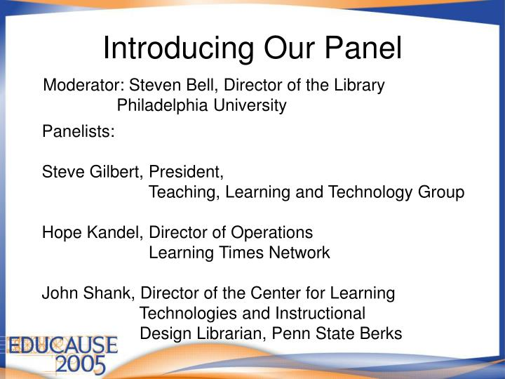Introducing our panel