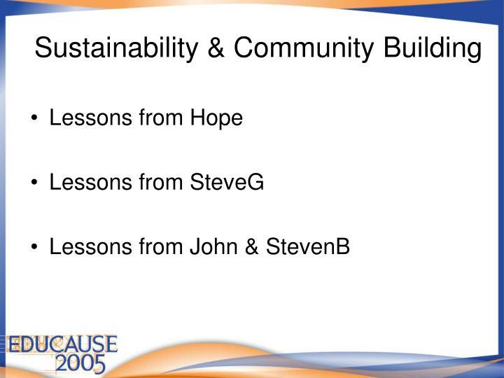 Sustainability & Community Building
