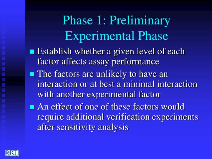 Phase 1: Preliminary Experimental Phase