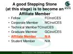 a good stepping stone at this stage is to become an affiliate member
