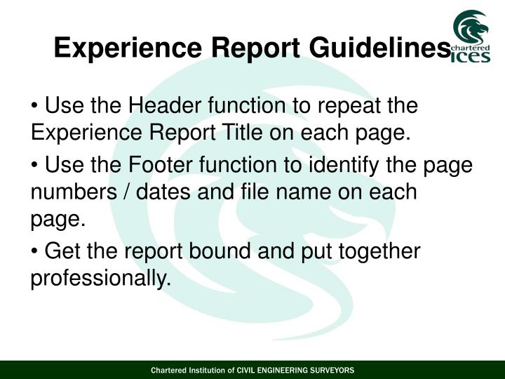 Use the Header function to repeat the Experience Report Title on each page.