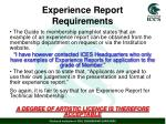 experience report requirements1
