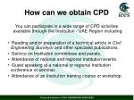 how can we obtain cpd