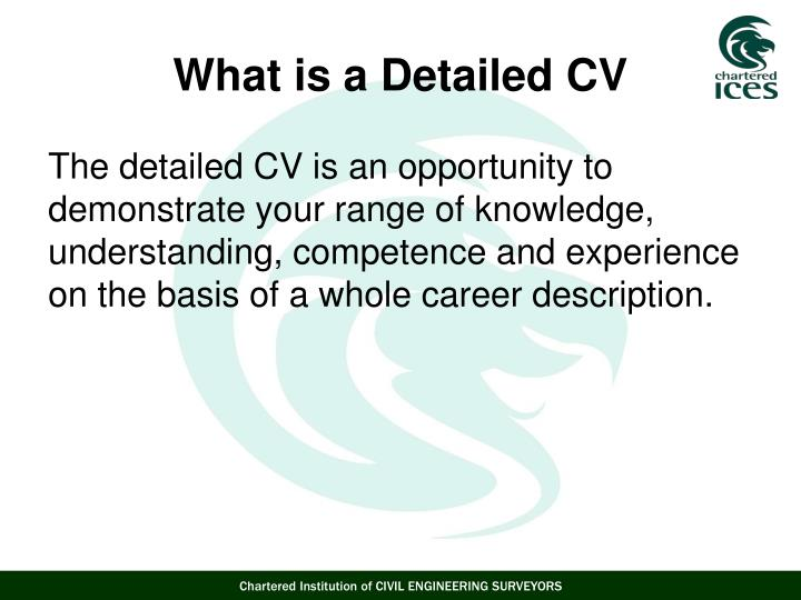 The detailed CV is an opportunity to demonstrate your range of knowledge, understanding, competence and experience on the basis of a whole career description.