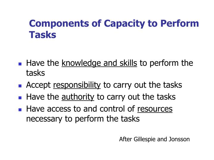 Components of Capacity to Perform Tasks