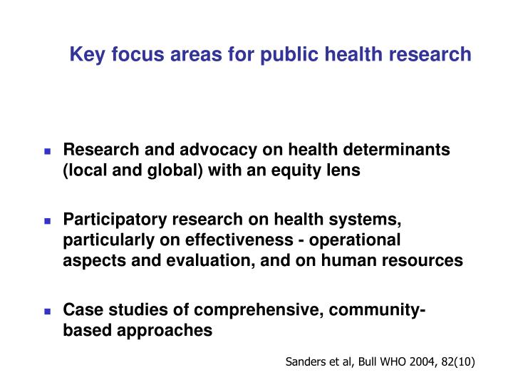 Key focus areas for public health research