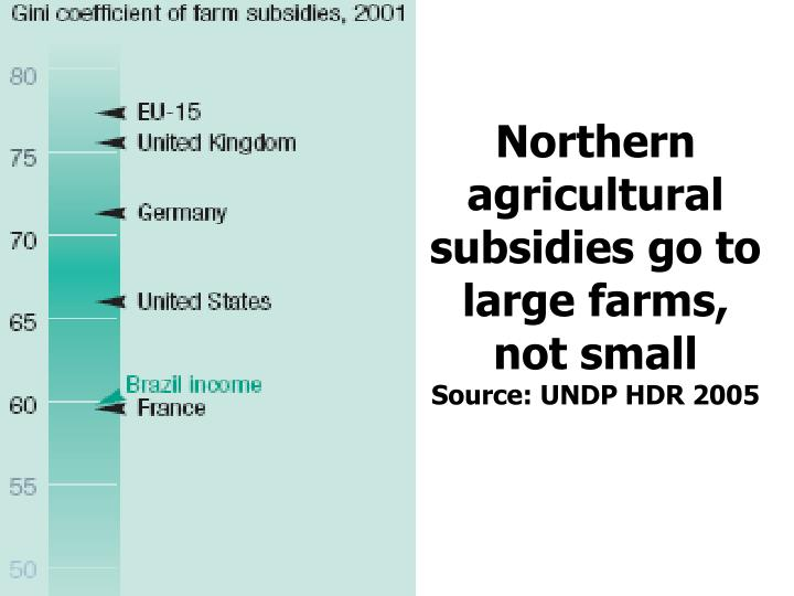 Northern agricultural subsidies go to large farms, not small