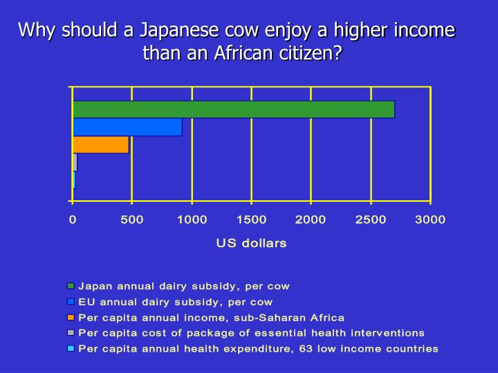 Why should a Japanese cow enjoy a higher income