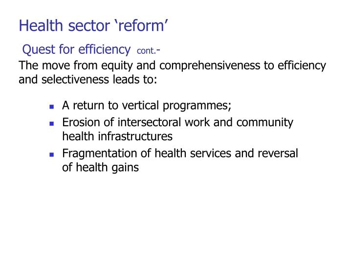 Health sector 'reform'