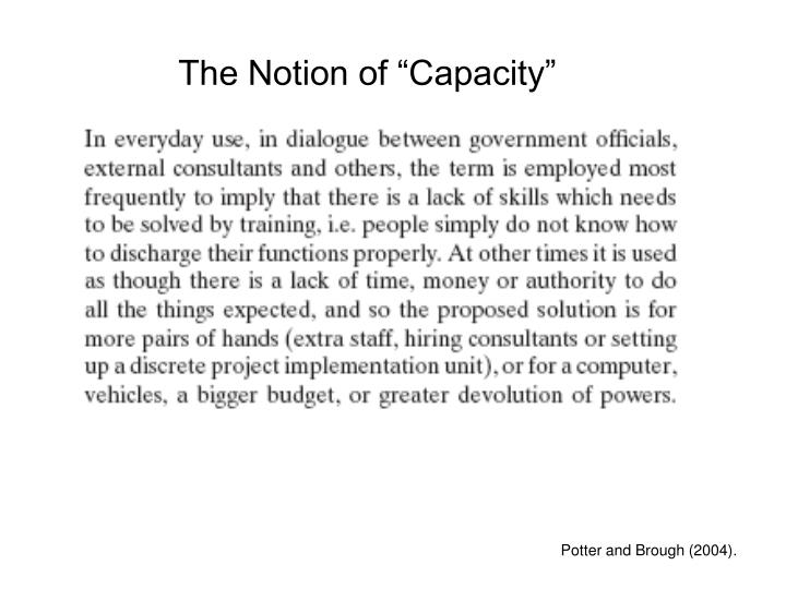 "The Notion of ""Capacity"""