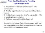 from c a algorithms to provably optimal systems