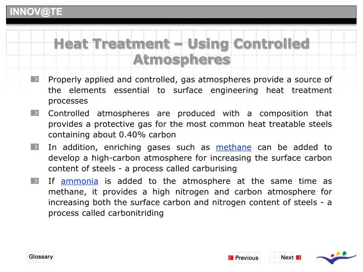 Heat Treatment – Using Controlled Atmospheres