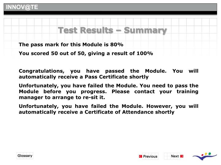Test Results – Summary