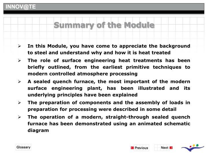Summary of the Module