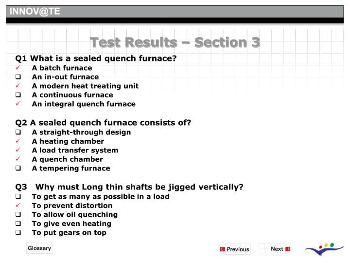 Test Results – Section 3