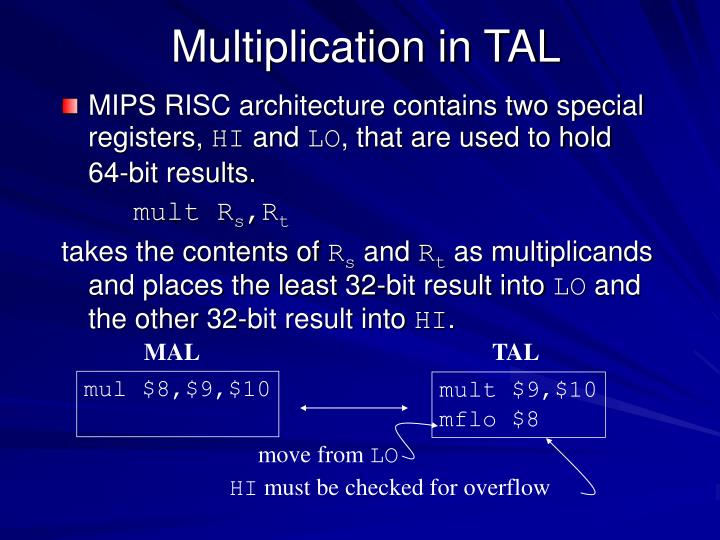 Multiplication in TAL