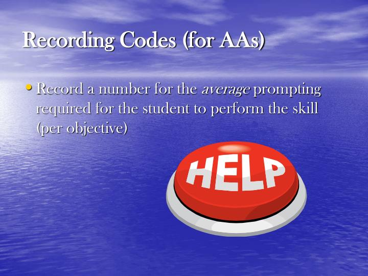 Recording Codes (for AAs)