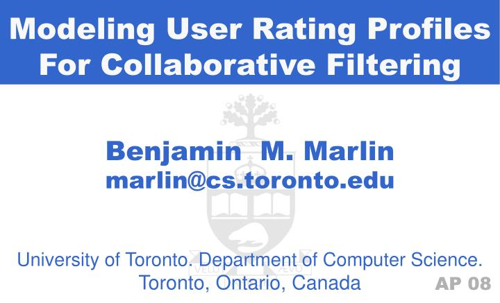 Modeling User Rating Profiles