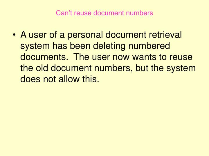Can't reuse document numbers