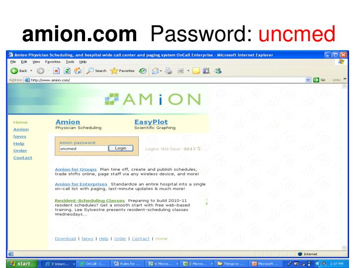 Amion com password uncmed