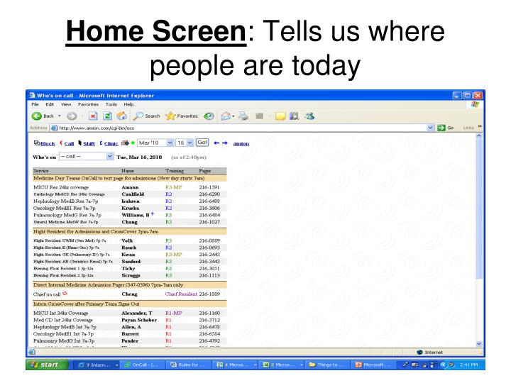 Home screen tells us where people are today