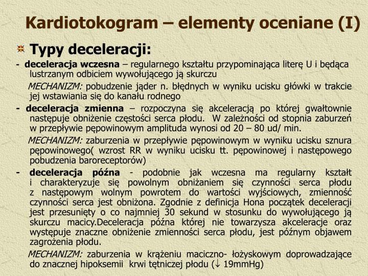 Kardiotokogram – elementy oceniane (I)