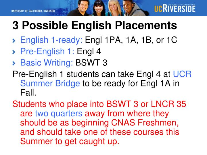 3 Possible English Placements