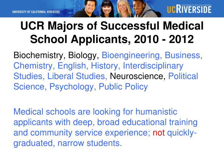 UCR Majors of Successful Medical School Applicants, 2010 - 2012